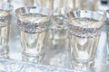 Silver goblets a plate with Stock Image