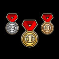 Silver, Gold, and bronze medal Set vector sports awards Royalty Free Stock Photo