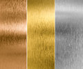 Silver, gold and bronze metal texture backgrounds Royalty Free Stock Photo