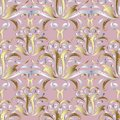 Silver gold 3d floral seamless pattern. Vector light pink damask Royalty Free Stock Photo