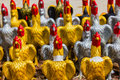 Silver and gold simulated chicken in chanthaburi thailand Stock Images