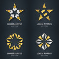 Silver and Gold star logo set. Award 3d icon. Metallic logotype Royalty Free Stock Photo
