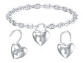 Silver heart lock pendant isolated necklace Royalty Free Stock Photo