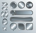 Silver high detailed modern buttons stylish Stock Photos