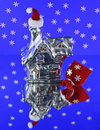 Silver house with santa hat christmas the red santas on chimney Stock Images