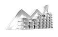 Silver index chart titanium ingots Royalty Free Stock Photo