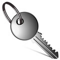 Silver key against white Royalty Free Stock Images