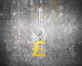 Silver key with golden pound symbol shape keyring Royalty Free Stock Photo
