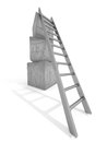 Silver ladder to top of cubes pyramid. Business success concept Royalty Free Stock Photo