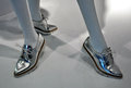 Silver ladies shoes Royalty Free Stock Photo