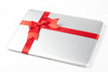 Silver Laptop Gift Stock Photography