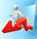 Silver man business chart arrow concept of a businessman riding a or graph showing growth Stock Photos