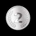 Silver medal on black isolated with clipping path Stock Photography