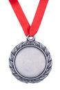 Silver medal with red ribbonon a white background Royalty Free Stock Image