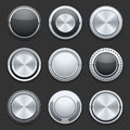 Silver metal chrome vector buttons set