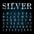 Silver metal font set letters, numbers, currency symbols. Royalty Free Stock Photo