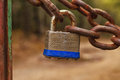 Silver Metal Lock on a Chain Royalty Free Stock Photo