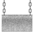 Silver metal signboard hanging on chains white Royalty Free Stock Photography
