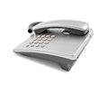 Silver modern telephone on the white background Stock Photography