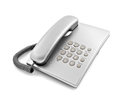 Silver modern telephone on the white background Royalty Free Stock Photos