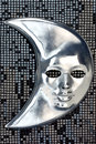 Silver moon mask fabric sequins as background Stock Photos