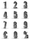 Silver numbers with euro and percent symbol Royalty Free Stock Photos