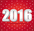2016 Silver numbers on a red starry background. Happy New Year. Royalty Free Stock Photo