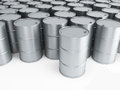 Silver oil barrels Royalty Free Stock Images
