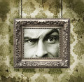Silver picture frame on wallpaper Stock Photos