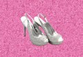 Silver and pink glitter fashion shoes on background Royalty Free Stock Photo