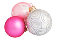 Silver, pink and purple christmas balls close-up isolated Royalty Free Stock Photo