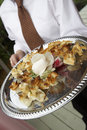 Silver Platter of Appetizers Stock Photo