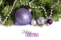 Silver and purple Christmas ornaments Royalty Free Stock Photo