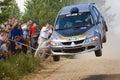Silver race car Mitsubishi Lancer at rally Stock Image
