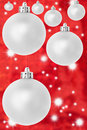 Silver red star christmas balls Stock Images