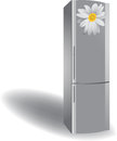 Silver refrigerator on a white background Stock Photos