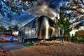 Silver retro airstream camper  Stock Image