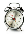 Silver retro alarm clock on white background Stock Photos