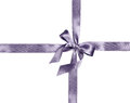 Silver ribbon and bow silk isolated on white background Royalty Free Stock Photo