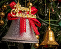 Silver ring bell with merry christmas Royalty Free Stock Photo