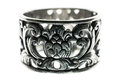 Silver ring macro isolated Royalty Free Stock Photo
