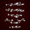 Silver royal design ribbon element on red pattern Royalty Free Stock Photography