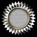 Silver seal starburst platinum star with black background Stock Images