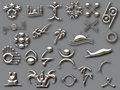 Silver shapes with shadow Royalty Free Stock Photo