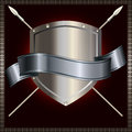 Silver shield with spears and silver ribbon Royalty Free Stock Photos