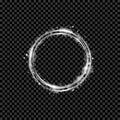 Gold shining round banner. Golden circle. Lights effects. Sparkle ring frame. Vector illustration