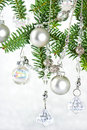 Silver shiny christmas tree decoration Royalty Free Stock Image