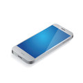 Silver smartphone vector on white Stock Image