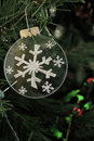 Silver Snowflake Ornament on a Christmas Tree Royalty Free Stock Photo