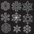 Silver snowflakes on black Stock Photography